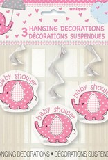 3 Pink Elephant Hanging Decorations Baby Shower