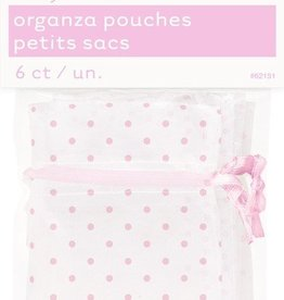 6 Pink Dots Organza Bags Baby Shower