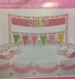Pink Cake Banner Baby Shower