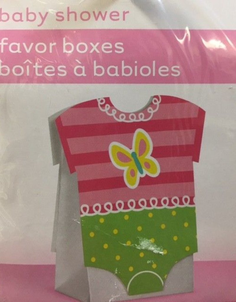 8 Pink Dots Baby Shower Favor Boxes