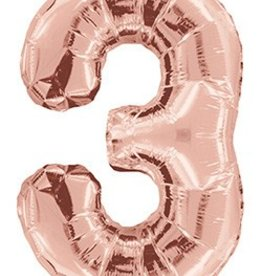 "34"" Rose Gold Jumbo Number 3 Balloon"