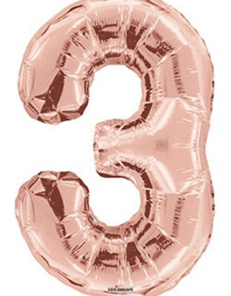 "34"" Rose Gold Jumbo Number 3 Balloon"