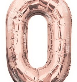 "34"" Rose Gold Jumbo Number 0 Balloon"