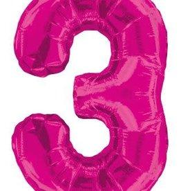 """34"""" Pink Jumbo Number 3 Balloon"""