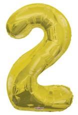 """34"""" Gold Jumbo Number 2 Balloon"""