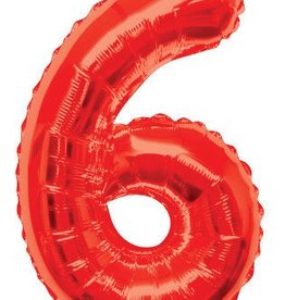 "34"" Red Jumbo Number 6 Balloon"
