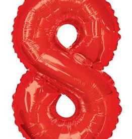 "34"" Red Jumbo Number 8 Balloon"