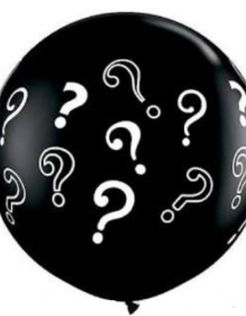 "36"" Question Mark Gender Reveal Balloon - Blue Fetti"