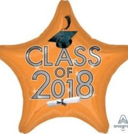2018 Orange Graduation Star Balloon