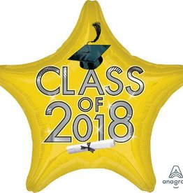 2018 Yellowish Gold Graduation Star Balloon