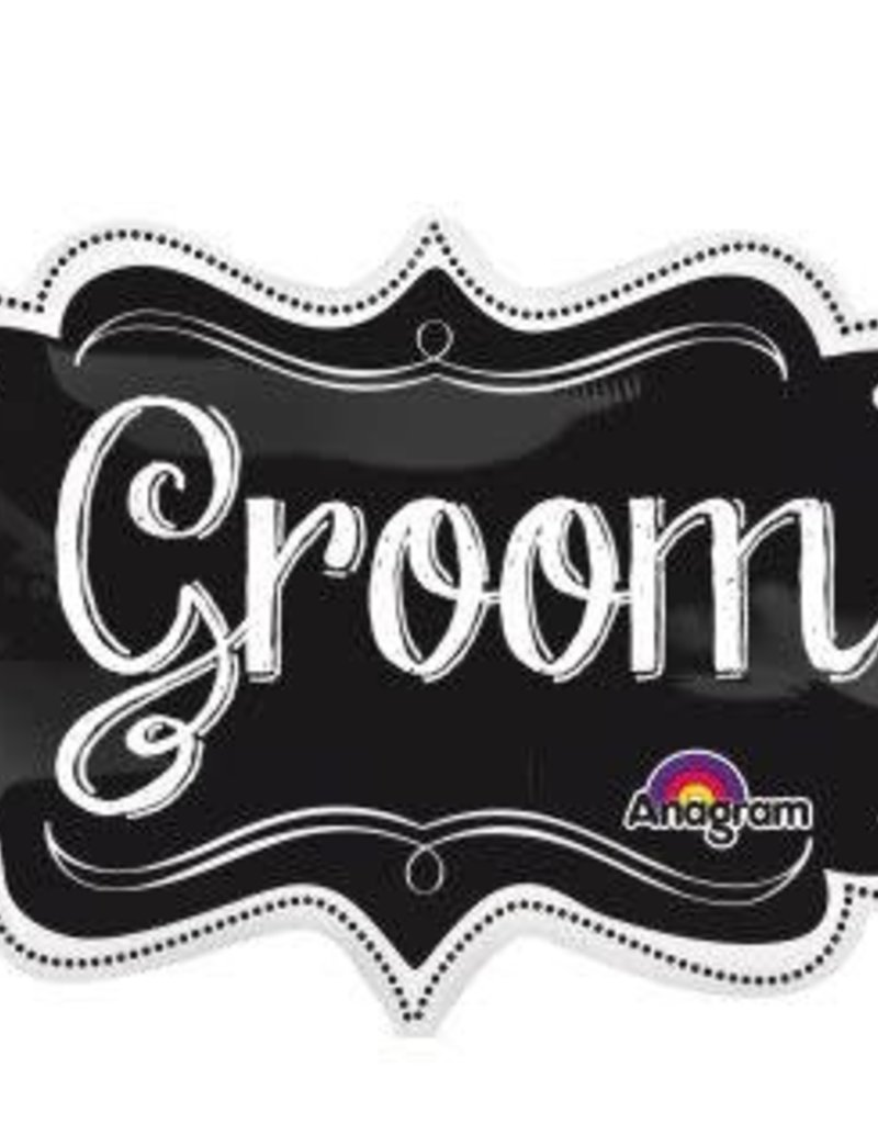 "27"" Wedding Groom Black and White Mylar Balloon"