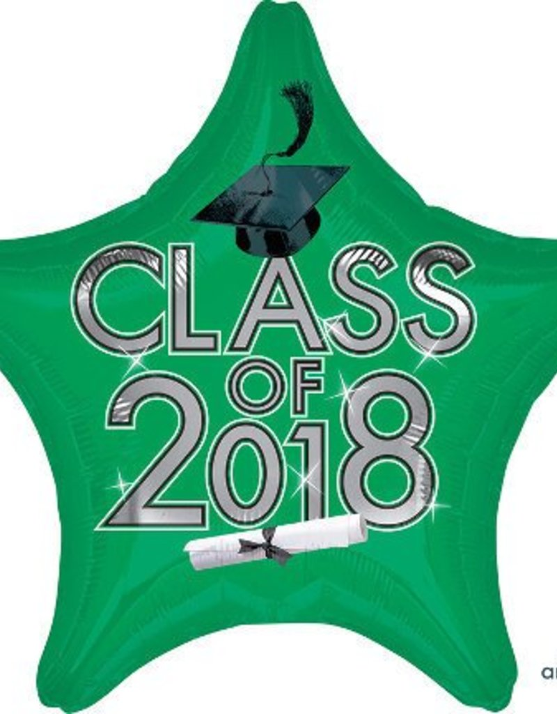 "17-18"" Green 2018 Graduation Star Balloon"