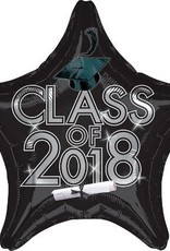 "17-18"" Black 2018 Graduation Star Balloon"