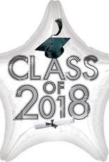 "17-18"" White 2018 Graduation Star Balloon"