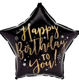 "18"" Happy Birthday Black and Gold  Star Foil Balloon"