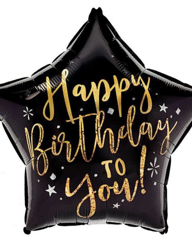 Happy Birthday Black and Gold Star Foil Balloon