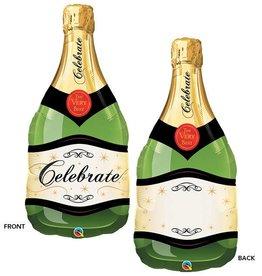 Green Celebrate Wine Bubbly Bottle Foil Balloon