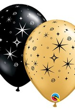 "11"" Black and Gold Sparkles and Swirls Latex Balloons"