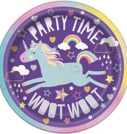 "7"" Party Time Unicorn dessert/cake plates"