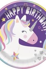 "9"" Happy Birthday Unicorn Plates"