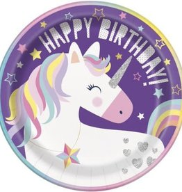 "9"" Happy Birthday Unicorn Plates"