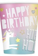 8-9 oz. Unicorn Happy Birthday Cups