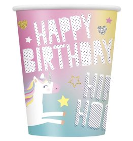 8-9 oz. Unicorn Happy Birthday Cups