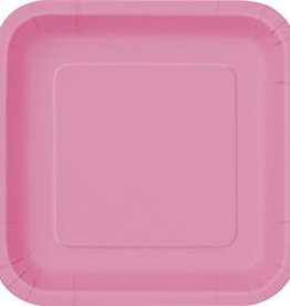 """8.75"""" Hot Pink Paper Square Plates"""
