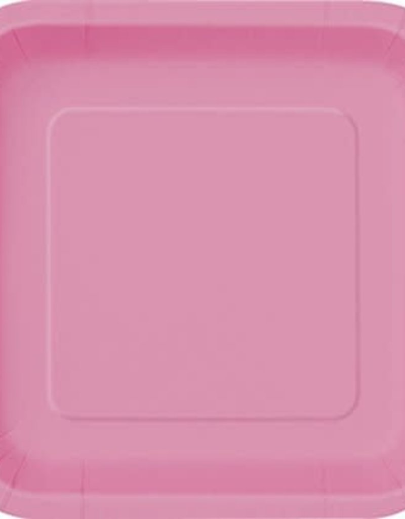 """8.75"""" Hot Pink Square Paper Plates"""