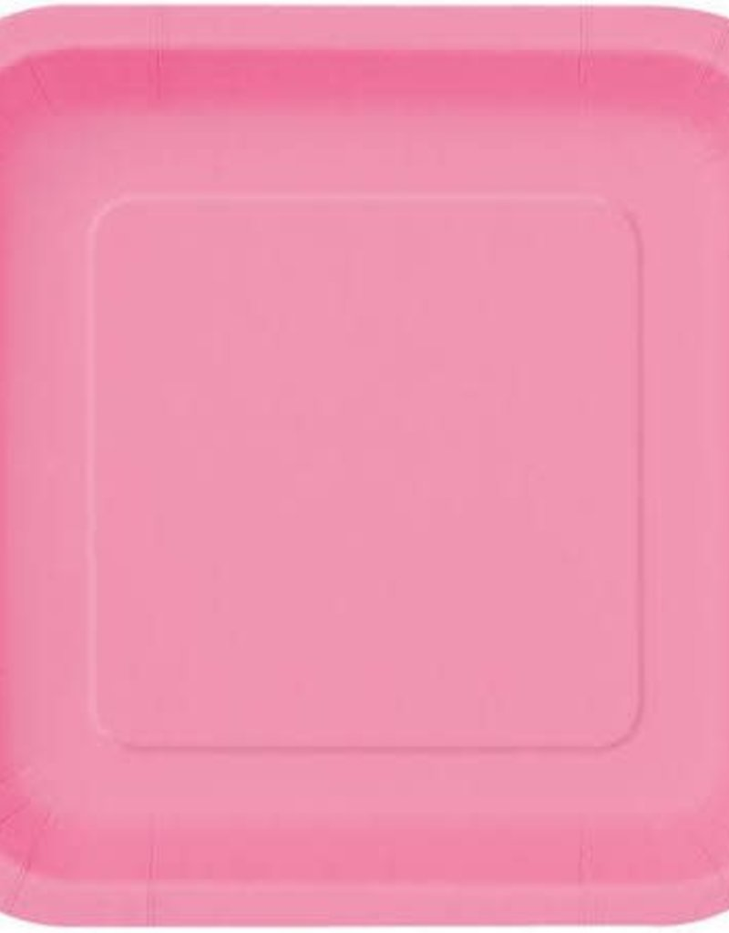 7inch Hot Pink Square Plates