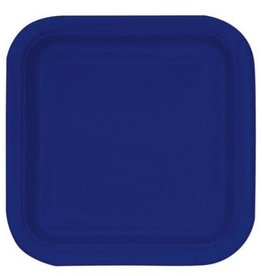 "8.75"" Navy Blue Square Paper Plates"