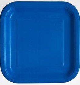 "8.75"" Royal Blue Square Paper Plates"