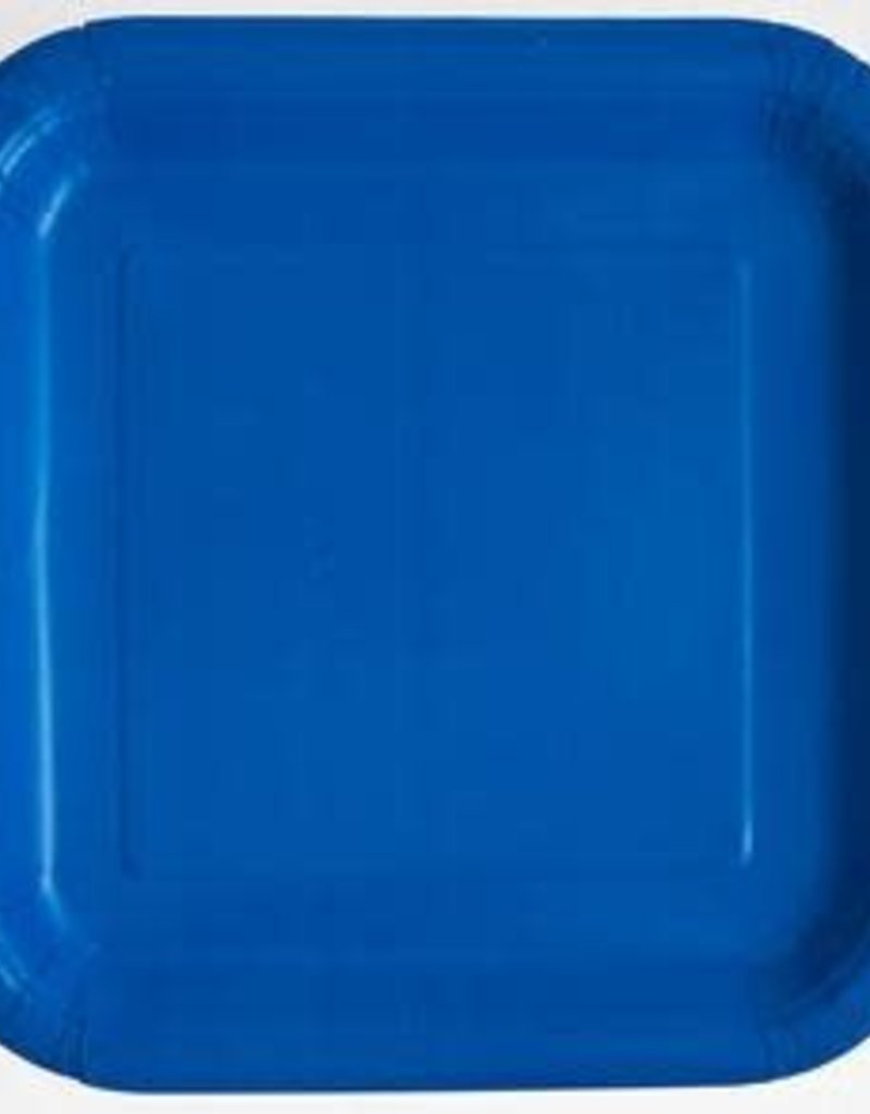 "8.75"" Royal Blue Square Paper Plates"