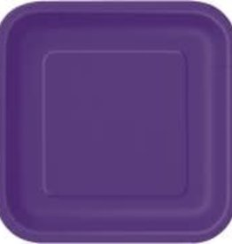"7"" Deep Purple Square Dessert Paper Plates"