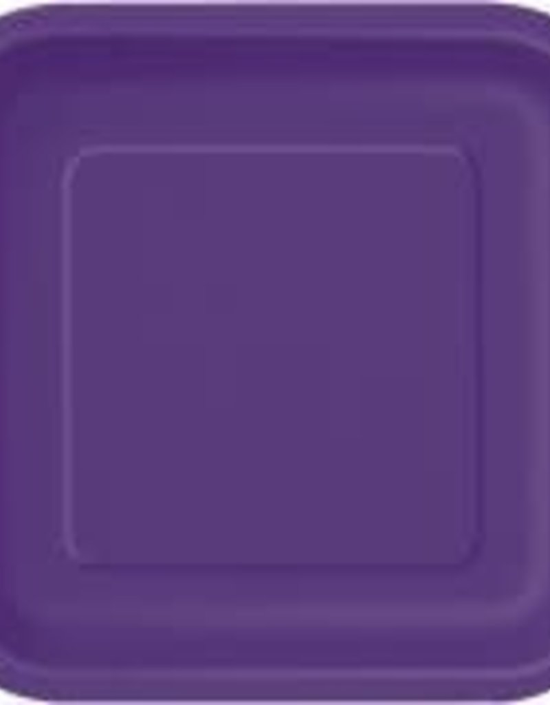 "7"" Deep Purple Square Dessert Paper Plates"