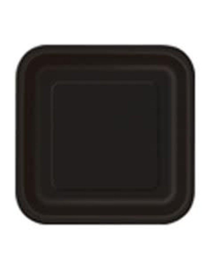 "7"" Black Square Dessert Paper Plates"