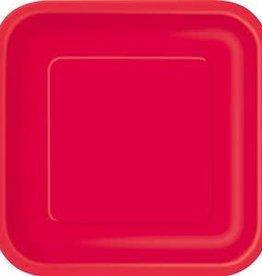 7inch Ruby Red Square Dessert Paper Plates