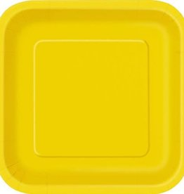 7inch Sunflower Yellow Square Dessert Paper Plates