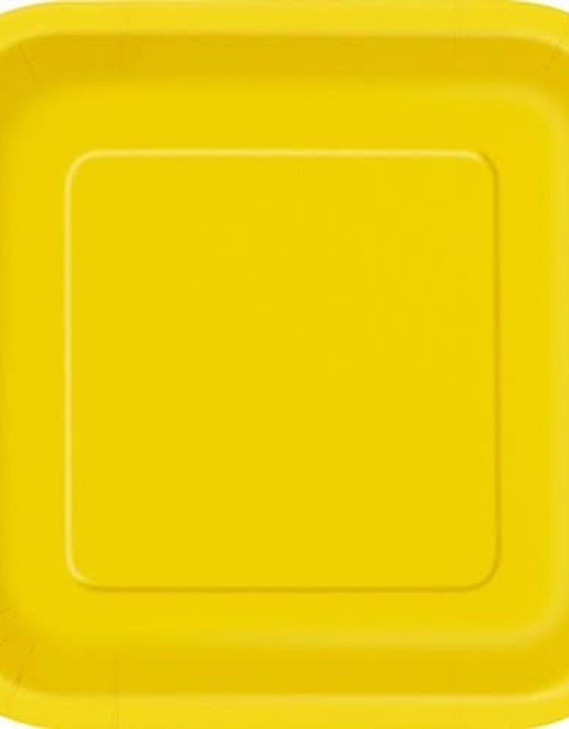 7inch Sunflower Yellow Square Dessert Paper Plates