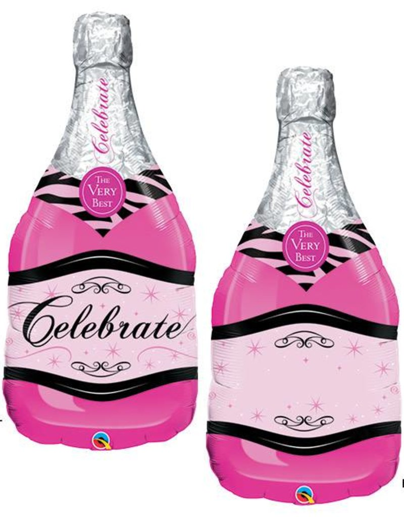 Pink Celebrate Wine Bubbly Bottle Foil Balloon