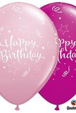 "11"" Pink Happy Birthday Star Print Latex"