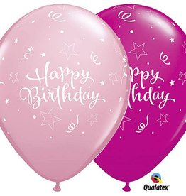 "11"" Pink Happy Birthday Star Print Latex"