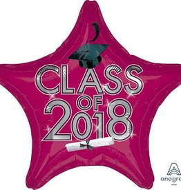 "17-18"" Burgundy 2018 Graduation Star Balloon"