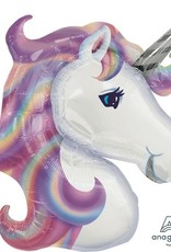 "32"" Pastel Unicorn Foil Balloon Head"