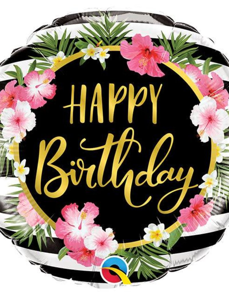 """18"""" Hibiscus Happy Birthday Foil Balloon"""