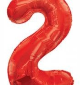 "34"" Red Jumbo Number 2 Balloon"