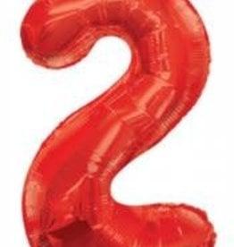 """34"""" Red Jumbo Number 2 Balloon"""