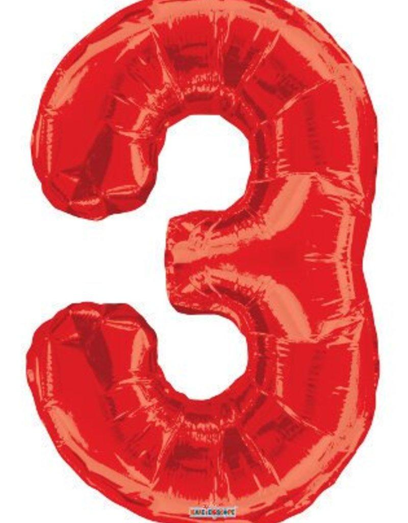"""34"""" Red Jumbo Number 3 Balloon"""