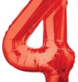 "34"" Red Jumbo Number 4 Balloon"
