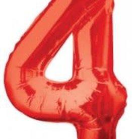 """34"""" Red Jumbo Number 4 Balloon"""